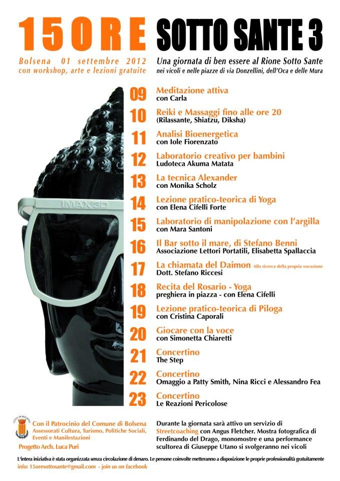 programma III edizione 15ore sottosante 2012 festival benessere bolsena